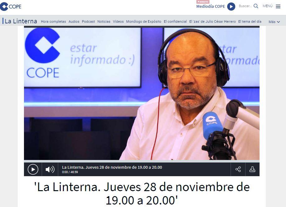 Ángel Expósito presentador de La Linterna en la COPE